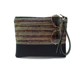 Black Clutch Purse, Wristlet, Evening Bag