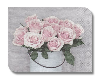 Floral paper napkin for decoupage, mixed media, collage, scrapbooking x 1. No. 1218 Minimalist Roses