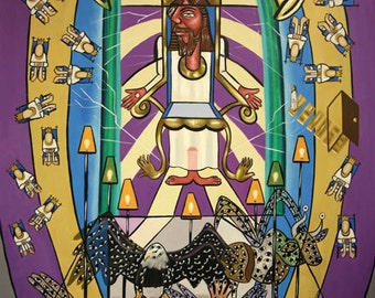Revelation Chapter 4  Print  Poster Jesus God Holy Spirit Cubism Anthony Falbo