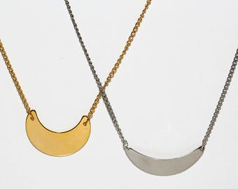 Crescent Necklace in Silver or Gold