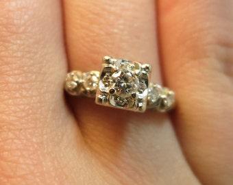 antique diamond engagement ring vvs diamonds