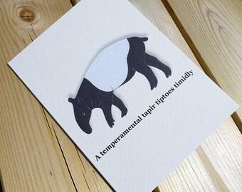 Tapir | Animal Card | Greeting Card | Tapir Card | Malayan Tapir | Tapirs | Illustrated Card | Animal Illustration | Wild Animal Cards