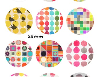 CT14 Sugar color 12 Digital Images/designs for 30/25/20/18/16/15/14/12/10/8 mm cabochon round/square/oval