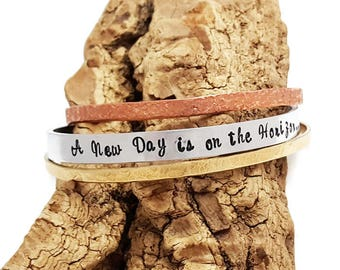 A new day is on the horizon Golden Globes Quote Cuff Bracelet- Oprah Quote - Stacking Cuff Bracelet - Political Statment - Feminist Jewelry