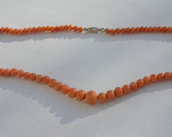 Victorian Natural Salmon Coral Necklace - Antique Coral - Salmon Coral