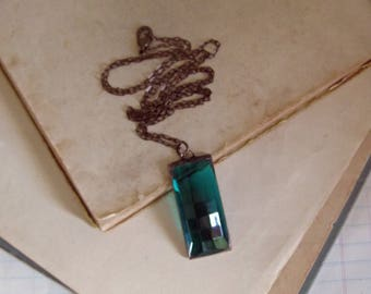 Teal Glass Long Necklace, Stained Glass, Soldered Jewelry