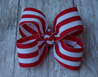 "Red and White Stripe Large Hair Bow 4"" Alligator Clip Girls Hairbow Candy Cane Christmas Hair Bow Red Stripe Hair Bow Christmas Large Bow"