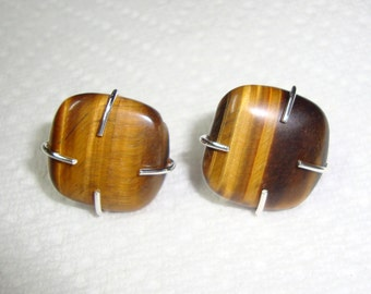 Earrings Tiger's Eye Rustic  posts studs bezel set - eco friendly sterling silver from recycled sources - Attention Focus Courage Patience