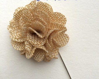 Lapel Flower, Mens Lapel Pin, Burlap Lapel Pin, Burlap Flower, Burlap, Rustic Lapel Pin, Boys Accessory, Boutonniere