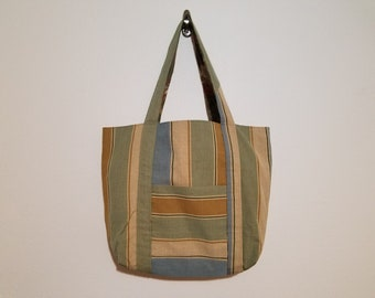 Tote Bag / Upcycled / Earth Tone Stripe / Floral Lining