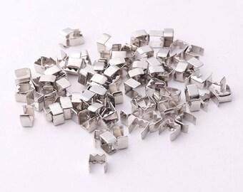 200pcs 4mm Silver Crimp Cord Ends End Tips Crimp Ends Fold Over Crimp Cord End Crimps End Caps Cord end tips