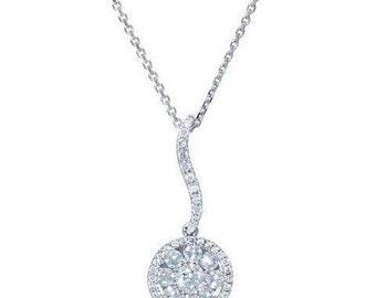 18 Karat White Gold Diamond Cluster Solitaire Dangling Pendant Necklace