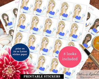 Hydrate Stickers Mambi Hydrate Stickers PDF Hydration Hourly Water Bottle Printable Stickers Happy Planner Stickers HPFB4