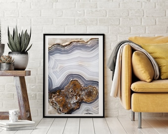 Mineral Photography - (Print # 056)  Agate Slab  - Mineral / Geode / Agate / Crystal Decor - Bohemian Home