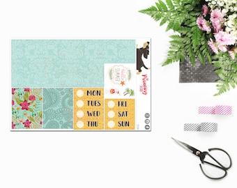 Summer Paradise }} ADD-ON Washi . Date Cover . Functional #6 .. Planner Stickers . ECLP . Vertical Erin Condren LifePlanner™ . KSU06