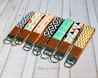 Key Fob / Key Wristlet - Choose Your Fabric - Aztec - Arrows - Herringbone - Chevron with Vegan Leather
