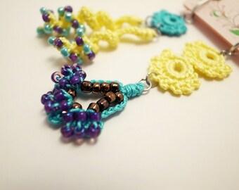 Crochet Lace Jewelry (Style 8-b) Fiber Jewelry, Clip Earrings, Crochet Earrings