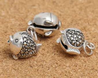 Sterling Silver Fish Bell Charm, Marcasite Bell Charm, Sterling Fish Bell Pendants, 925 Silver Fish Bell Charm, Bell Pendant - LA535