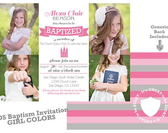 LDS Baptism Invitation - Girl Baptism - Custom LDS Baptism Photo Announcement/Invitation