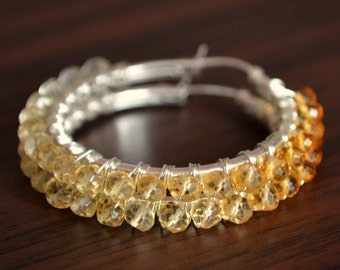 Citrine Hoop Earrings, Real Shaded Gemstones, Ombre Jewelry, Wire Wrapped, November Birthstone Jewelry, Sterling Silver, Free Shipping