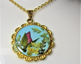 Sweet Rosebud, Pressed Flower Pendant, Real Flower Necklace,  Resin (2031)