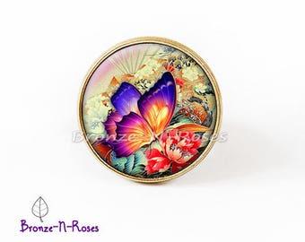 "Ring ""Sublime"" papillon""orange fantasy glass cabochon bronze jewelry"