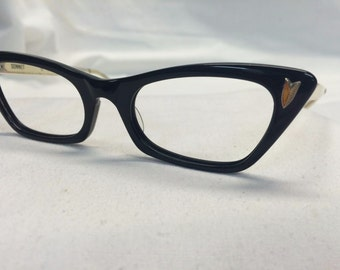 Black Cateye Glasses, Vintage 1950s Eyeglasses by Bausch and Laumb New Old Stock Womens Eyewear Black Cat Eye Glasses Black Frames Deadstock