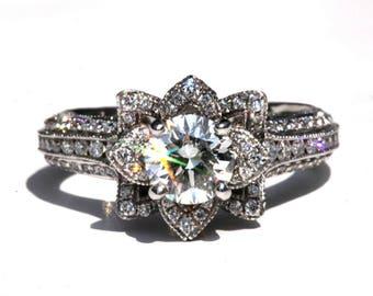MILGRAIN - Gorgeous UNIQUE Flower Lotus Rose Diamond Engagement Ring - 3 carat - Platinum - custom - art deco - Beautiful Petra Rings fL04
