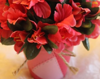 Handpainted Coral Patchwork design  clay pot with Coral silk Flower Arrangement
