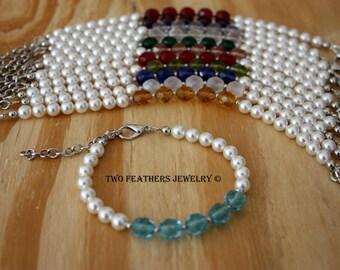 Birthstone Bracelet - Mother's Bracelet - Grandmother Bracelet - Swarovski Pearls - White Pearl Bracelet - Customized - Personalized Gift