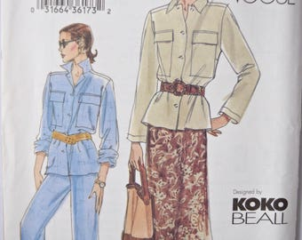 Koke Beall Very Easy Vogue 7699 Sewing Pattern Misses' Loose Fitting Jacket with Pockets A-Line Skirt and Pants UNCUT FF Sizes 8-10-12