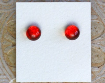 Dichroic Glass Earrings, Smoldering Orange  DGE-1284