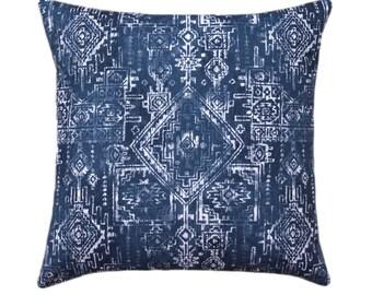 Navy Blue Tribal Accent Pillow Cover, Premier Prints Sioux Premier Navy, Navy Pillow Cover, Aztec Pillow 15 Sizes Available, Zipper Closure