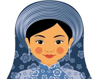 Vietnamese Water Wall Art Print featuring traditional dress drawn in a Russian matryoshka nesting doll shape
