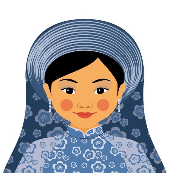Vietnamese Water Doll Art Print with traditional dress matryoshka