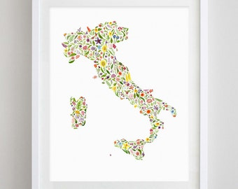 Italy Floral Watercolor Art Print