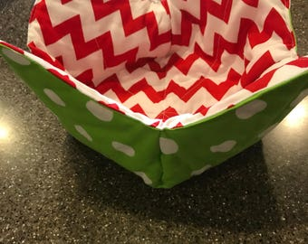Bowl cozy, reversible bowl cozy, bowl pot holder, microwaveable bowl pot holder, christmas bowl cozy