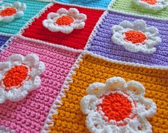 Crochet Blanket Pattern - Blooming Flowers! Baby Blanket - PDF Instant Download
