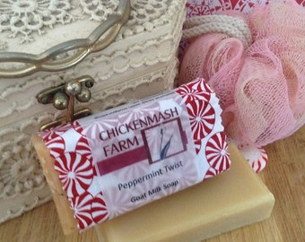 Peppermint Twist Goat Milk Soap | Peppermint Soap | Handmade Soap | Bar Soap | Natural Soap | Goat Milk Soap