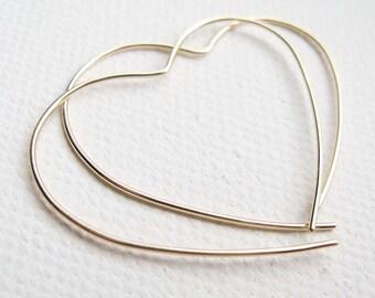 9ct Yellow Gold Hoop, Red Gold Heart Earrings, Large Open Heart Hoop, Simple Gold Earrings,Gold Heart Earrings, Gold Hoop