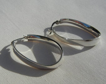 Large modern hoop earrings in 925 sterling silver