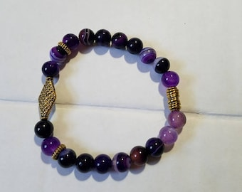 Purple Striped Round Beads