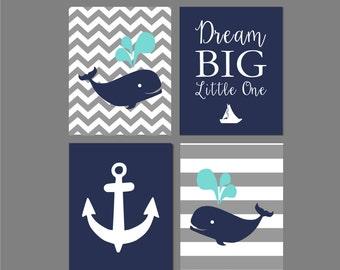 "Nautical Nursery Wall Art, Whale Nursery Art, Anchor, Dream Big Little One, Navy and Grey Nursery,four prints You Choose Colors -  8""x10"""