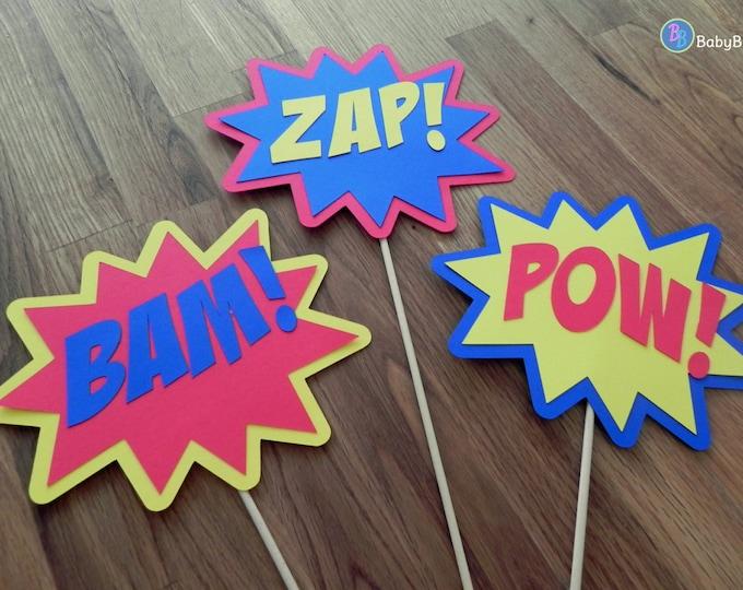 Photo Props: The Superhero Phrase Set (3 Pieces) - party wedding birthday mask pow bam zap centerpiece