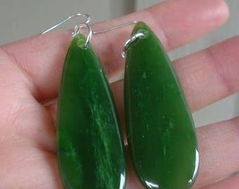 Beautiful Canadian Top Grade Jade 925 S Silver Earrings