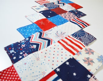 Patchwork Red, White and Blue Table Runner