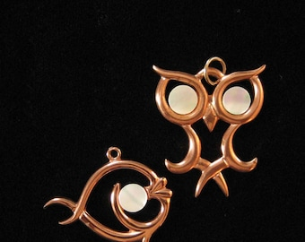 Copper Owl and Fish Pendants with Mother of Pearl Eyes