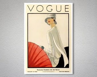 Vogue Cover  January 11, 1928 - Vogue Cover Poster - Poster Print, Sticker or Canvas Print / Gift Idea