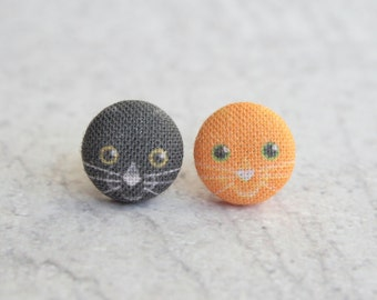 Halloween Kitties Fabric Button Earrings