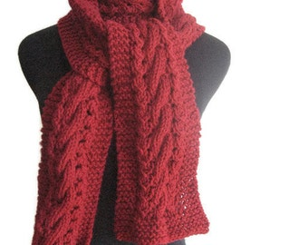 Cranberry Red Cable and Lace Scarf, Vegan Knits, The Stef Scarf, Red Scarf, Hand Knit Scarf, Winter Scarf, Womens Scarf, Winter Accessories